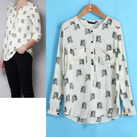 Wholesale Casual Women Top Ladies Europe Style Tiger Pattern Print Long Sleeve Chiffon Top Blouse Free shippi