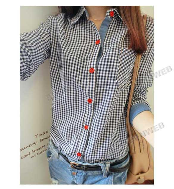 2017 Shirt Casual Women's Tartan Plaid Check Pattern Button Down ...