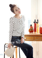 Women Regular Polka Dot White Casual Long Sleeve Polka Dot Women's T- Tops Chiffon Blouse M L XL XXL Free shipping 13328