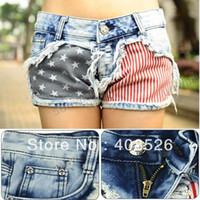 Wholesale Price Fashion Stars Stripes US Flag Classical Summer Jeans Short Denim shorts hot s Free S