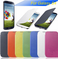 Wholesale S4 flip leather case Back cover battery housing case for Galaxy S4 i9500 DHL Free