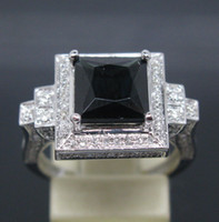 South American Women's Wedding 3.85CT SOLID 14K WHITE GOLD NATURAL Black SPARKLY TOURMALINE DIAMOND Wedding Engagement RING
