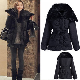 Wholesale M L Women s Ladies Winter Warm Outwear Fur Collar Cotton Padded Coats wadded jacket Black
