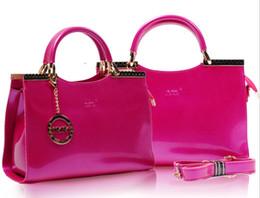 Wholesale New Women s Elegant Fashion Handbags Shoulder Bag Shiny Patent Leather Messenger Bags Piece