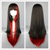 Wholesale New arrival cm Black red fusion long straight bang in a line cosplay costume wig in Stock