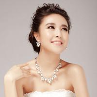 Crystal, Rhinestone american zinc - bridal pearl necklace earrings wedding Jewelry set NJ simulated pearls silver plating zinc alloy pierced earrings promotion