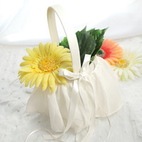 Wholesale Ivory Elegant Chiffon Flower Girl Basket For Wedding Favors Gifts Party Accessory Decoration Supplies