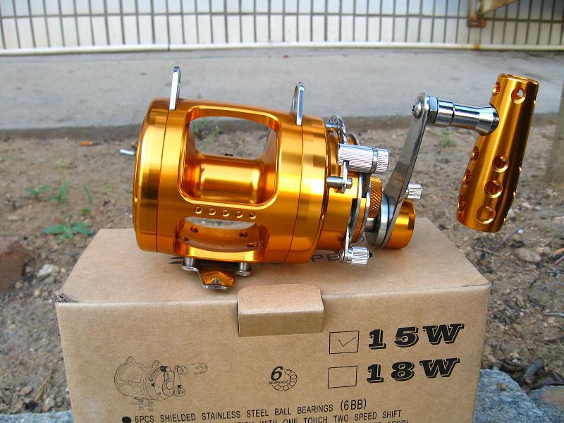 Golden boat fishing reel machined cut cnc aircraft 15w for Big game fishing reels