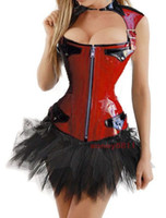 Wholesale Realy PVC Commission Sexy Goth Punk Leather PVC Front Zipper LaceUp Corset Bustier amp TUTU Skirt amp GString