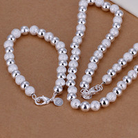 Wholesale hot sale pieces mm round beads chain sterling silver neckace bracelet ZSSS silver jewelry set