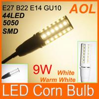 Высокое качество 9W мозоли СИД Лампочка E27 E14 B22 5050 SMD 44 светодиодов белый, теплый белый светодиод Винт Кукурузный лампы Бесплатная доставка DHL