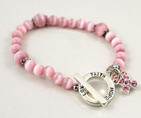 Wholesale Breast cancer awareness charm bracelet hope faith love cat eye clasp beaded bracelets mix model mix color cheap