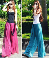 Wholesale 2015 New Arrival Fashion Women Ladies Beach Wide Leg Long Pants Trousers Summer Casual Red Blue Black