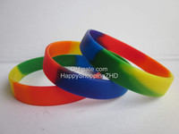 Wholesale Rainbow colour Gay Pride wristband silicon bracelet promotion gift