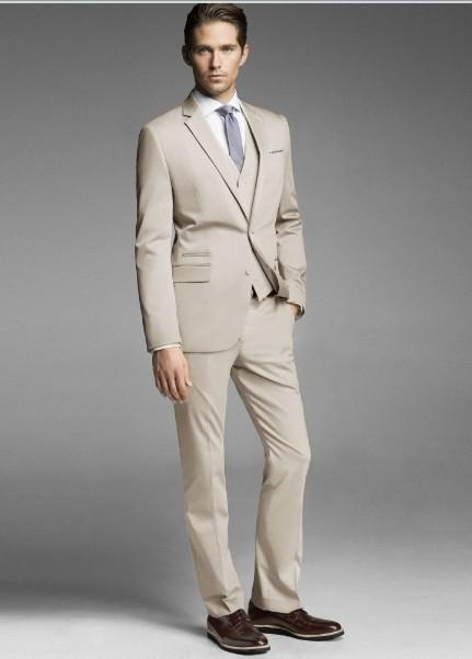 Custom Made Two Buttons Beige Groom Tuxedos Notch Lapel Best Man ...