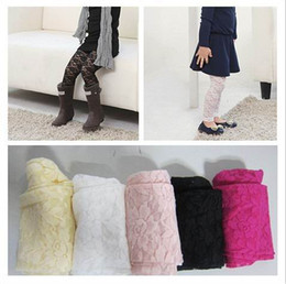 Wholesale Girl Leggings Children Clothes Gir Lace Candy Color Tights Nine minutes of pants Pink White Black Yellow Rose