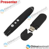 al por mayor punto de alimentación de control remoto-El más barato USB control remoto inalámbrico RF jugador puntero láser Power Point PPT para PC Portátil