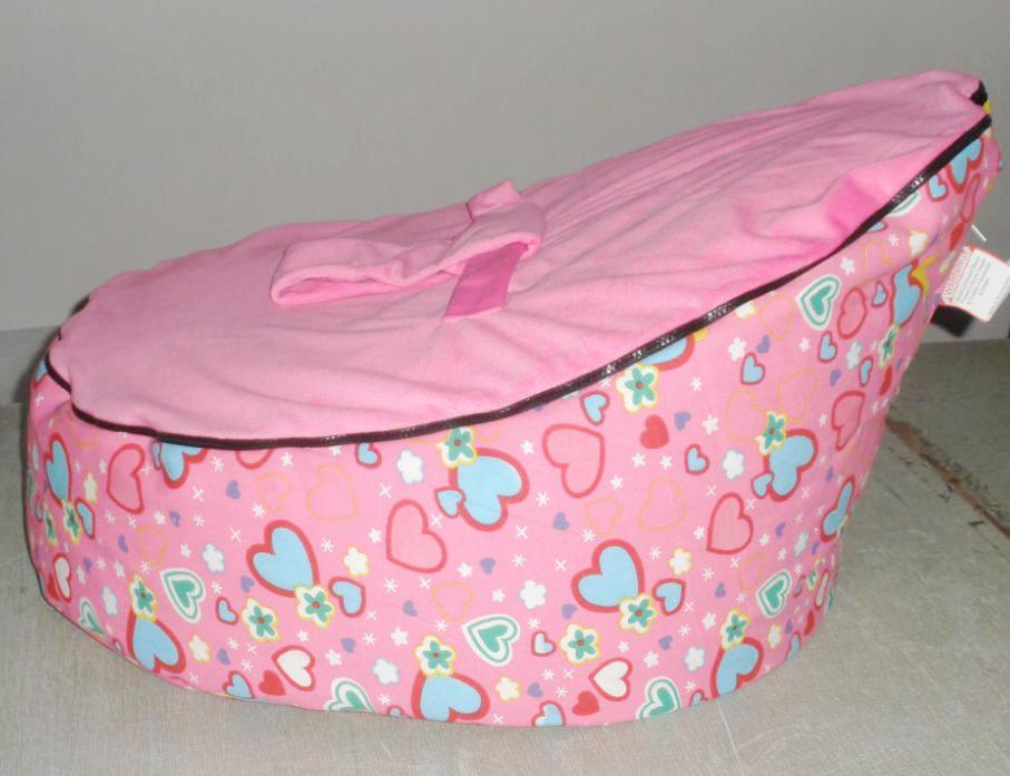 2017 New Baby Bean Bag Cover Girl Kids Sofa Chair Cover With Two Tops For Change Pink Hearts ...
