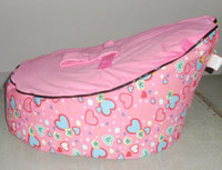 Wholesale New Baby Bean Bag Girl Kids Sofa Chair Cover Pink Hearts Soft Bed Double layers Harness Strap Printed fabric Infant Chair