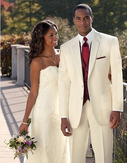 Custom made ivory groom tuxedos wedding suits prom for Mens ivory dress shirt wedding