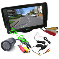 "Car Camera   9 IR Wireless Day Night Car Reversing Reverse Camera + 4.3"" LCD Monitor Car Rear View Kit Free Shipping"