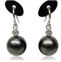 Hot sell elegant 10-11mm tahitian black pearl earrings 925s