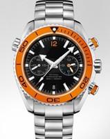 Men's bezel chrono watch - New Sea Planet Ocean Chrono Auto Orange Bezel Automatic Mens Watch Stainless Sport Men s WristWathes