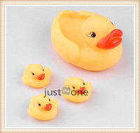 Bath Toys everyday   Baby Bath Bathing Toy Rubber Race Squeaky Funny Cute Yellow Ducks Toys