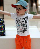 90,100,110,120,130 unisex 100% Cotton 2013 Summer Kids Boys Girls shirt cotton modal t-shirt Korean tiger pattern T shirt roundneck unisex shirt shortsleeved white clothes 20PCS