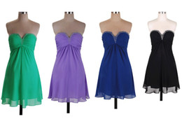 Wholesale Short Mini Chiffon Sleeveless In Stock Beaded Pleated Bridesmaids Dresses Wedding Party Gown Homecoming Cocktail Dress RL916
