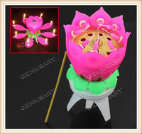 Wholesale Rotating Magical Flower Musical Birthday Candle Party Decoration Gift rotating birthday candle