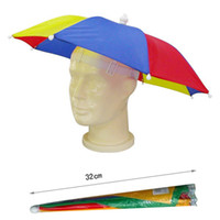 Wholesale Light Umbrella Hat Sun Visors Rainbow Umbrellas Cap Outdoor Fishing Umbrella With Elastic