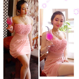 Wholesale Sexy Women s Clubwear Lace Satins Wear Strapless Stretchy Party Dress Formal Attire Pink Adeal