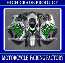 ABS Plastic fairing kit for Kawasaki Ninja ZX-6R 2007 2008 ZX 6R 2007 2008 ZX6R 07 08 fairings green flames in silver motorcycle parts RX7z