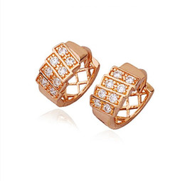 (217E) Rose Gold Filled Classic Hoop Earrings Fashion Jewelry for Women with Precious Zircon Lead and Nickel Free