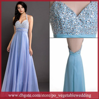 Wholesale Newest arrival Cloudup Halter Sexy Backless Sequin Beading Sweep Train Ruffle A Line Chiffon Prom Party Dress