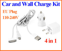 Wholesale Wall Travel Car Charger AC Power Adapter Kit Micro USB Pin Cable for iPhone iPad Samsung Galaxy Tab