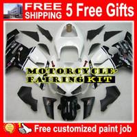 Wholesale Kawasaki 636 Plastic Kit - BLACK WHITE ABS Plastic KAWASAKI NINJA ZX 6R 2005-2006 ZX636 ZX 636 ZX6R 05-06 05 06 2005 2006 White and Black Motocycle fairing Kit