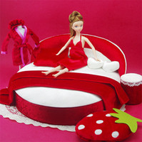 Wholesale Ultra luxury Crib Doll Bed Red Queen Beds Dolls Accessories Action Figures