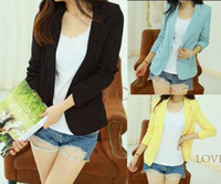 Wholesale Hot Sell Women s Without Buckle Slim Casual Candy Colors Suit Jacket Blazer S M L XL Mixed Colors Option