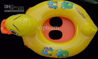 Wholesale free shipEMSto AUS Baby Swim Ring Yellow Duck Water Fun Floater Swimming Boat11pcs