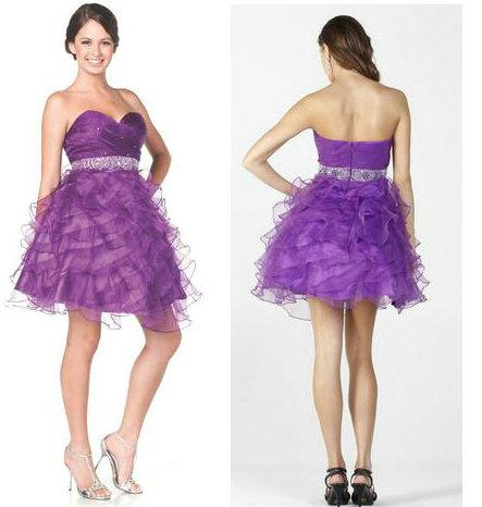 Strapless Poofy Purple Graduation Dresses Short Grade 8 2013 ...