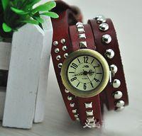 1pcs Antiqued Bronze Watch Red Triple Rivet Leather Wrap Bra...