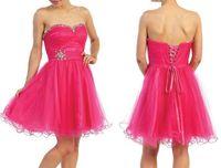 Wholesale Strapless Beads Fuchsia Short Graduation Dress Grade Organza Rhinestone Cocktail Online Cheap