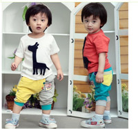 0-3 year baby boy giraffe - Summer children sets Europe and America giraffe boys all cotton Short sleeve baby clothes set topwear ninth pants