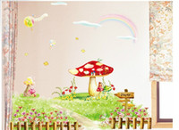 Wholesale Pastoral style living room kitchen bedroom wall stickers PVC Mushroom Garden Wall Stickers