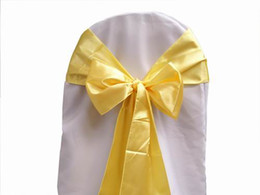 Wholesale 50 Gold SATIN SASH Chair Bow Wedding Party Banquet Decor Shimmering Choose Color NEW