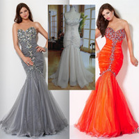 Wholesale 2012 classic sweet heart mermaid beaded sequins jewel ruffles organza amp satin prom dress evening dress