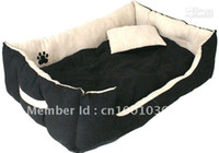 Wholesale Clasic pet products dog bed classic faux Suede fabric light beigh with paw pc for sel