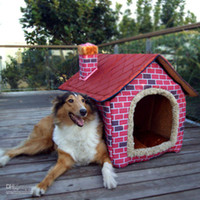 Wholesale Shipping Free Pet Dog House Large Dog Bed Cat Bed Soft pink Brick Wall Style Pet House Large Dog